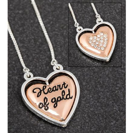 Two Tone Heart of Gold Necklace